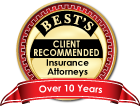 Best's Recommended Insurance Attorney Over 10 Years