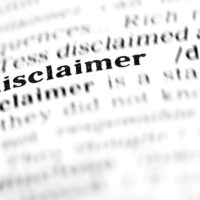 close up on disclaimer word in dictionary