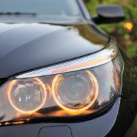 view of a single BMW headlight