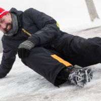 Man slips on icey street