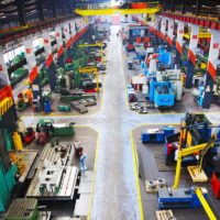 full view of manufacturing assembly line for metal factory