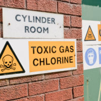 Warning sign of chlorine gas for water plant treatment